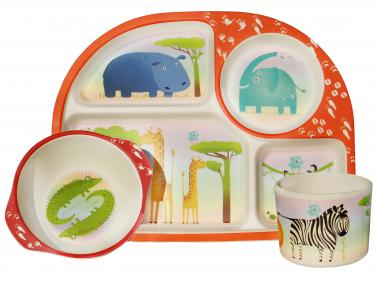 BimBamBoo Tiere Dining Sets Kinder 3-teilig