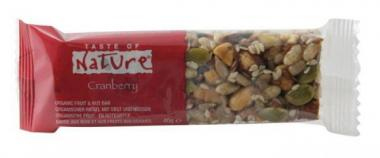 Bio Müsliriegel Quebec Cranberry - Taste of Nature - 40g